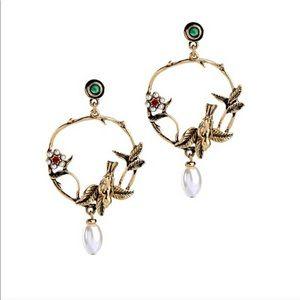 NIP Birds Nesting Ststement Earrings Faux Pearl CZ